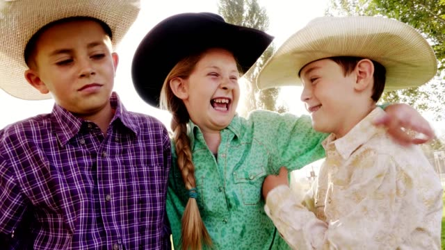 children with cowboy hats - cowboy stock videos & royalty-free footage