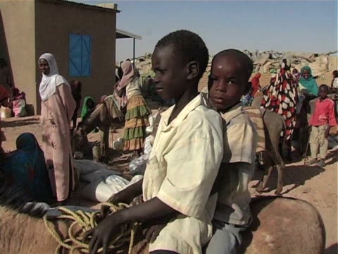 Children with donkeys in poor area / Chad / AUDIO