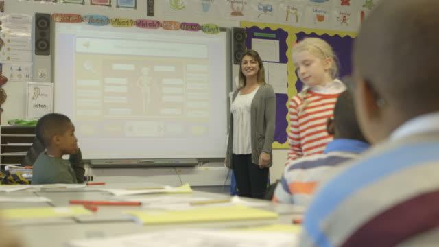 Children with female teacher learning