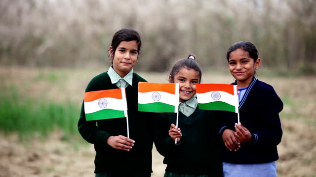 children with indian flag in the nature - patriotism stock videos and b-roll footage