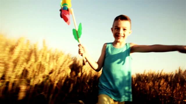 bambini con girandola corre attraverso grano - girandola video stock e b–roll