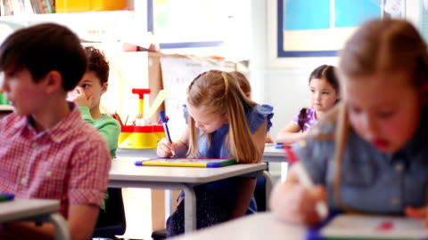 children working at their desks - art and craft stock videos & royalty-free footage