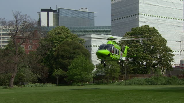 Children's air ambulance landing in the grounds of Lambeth Palace