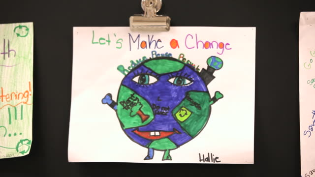 ms children's artwork on environmental issues in classroom / richmond, virginia, united states - school bulletin board stock videos and b-roll footage