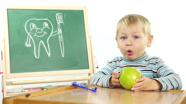 children's dental hygiene lessons - tooth care stock videos and b-roll footage