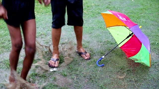children's enjoying rain - monsoon stock videos & royalty-free footage