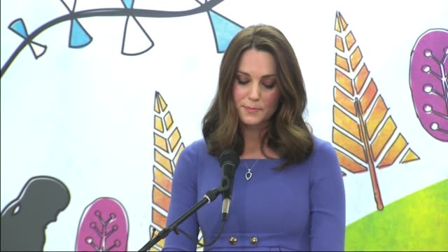Children's mental health event Duchess of Cambridge speech ENGLAND London Brent Roe Green Junior School INT Catherine Duchess of Cambridge into hall...