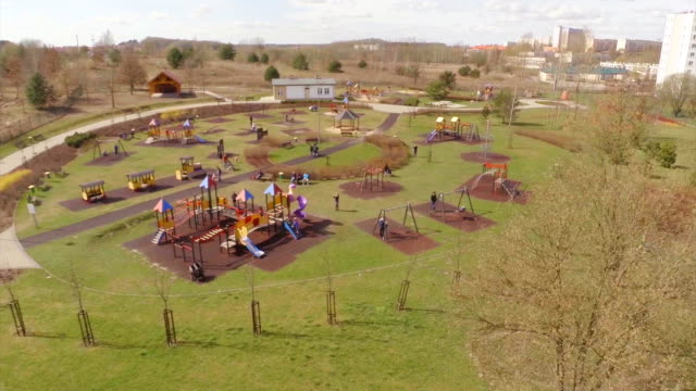 children's playground aerial shot - school yard stock videos and b-roll footage