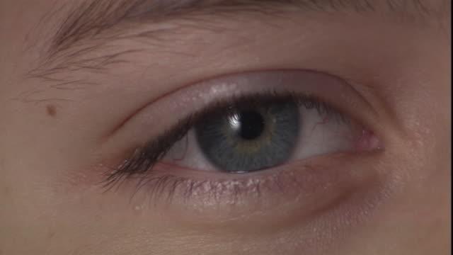 a child's blue eye blinks. - iris eye stock videos & royalty-free footage