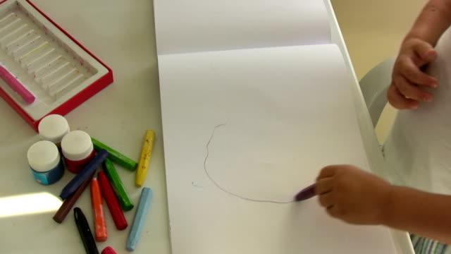 child's drawing - drawing activity stock videos and b-roll footage