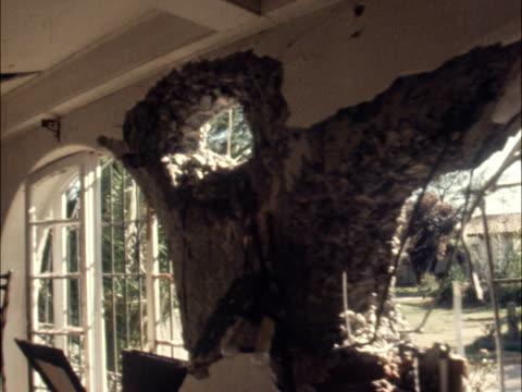 santiago cu bullet hole in window pull out palace shot thru window ts palace pull out after bomb ls zoom troops in entrance of palace amidst rubble... - 1973 stock videos & royalty-free footage