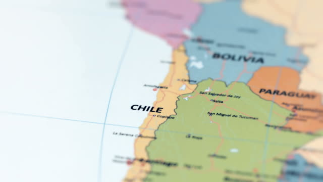 south america chile on world map - argentina stock videos & royalty-free footage