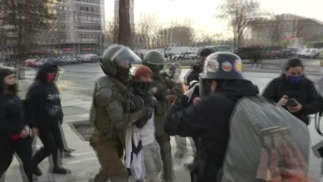 chilean police arrest a man on the second consecutive friday of anti-government demonstrations at chile's emblematic plaza italia -- which has been... - water cannon stock videos & royalty-free footage