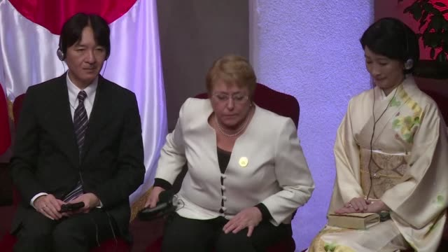 chilean president michelle bachelet condemned north korean threats against japan wednesday after meeting with prince akishino the second son of... - emperor akihito stock videos and b-roll footage