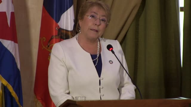 chilean president michelle bachelet opens the chile cuba business forum as part of an official visit in cuba with the purpose of strengthening... - west indies stock videos & royalty-free footage