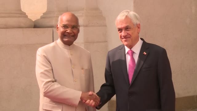 Chilean president Sébastian Pinera receives his Indian counterpart Ram Nath Kovind in La Moneda presidential palace where the two countries signed...
