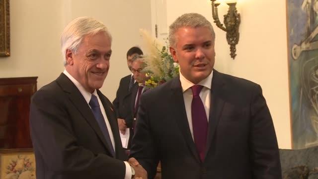 Chilean President Sebastian Pinera and Colombian President Ivan Duque meet ahead of PROSUR summit in Santiago and discuss Venezuela