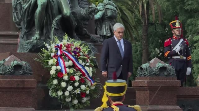 Chilean president Sebastian Pinera participates in a wreath laying ceremony in honour of the Argentine XIX century hero General Jose de San Martin in...