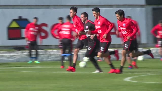 Chile's national football team La Roja trains ahead of two upcoming qualifiers for 2018 World Cup against Paraguay and Bolivia in the absence of the...