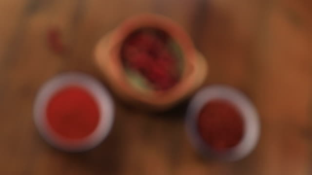 vídeos de stock, filmes e b-roll de chilies - enfoque de objeto sobre a mesa