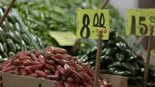chilli peppers market stalls, mexico city - central de abastos stock videos & royalty-free footage