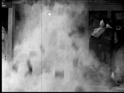 b/w, ms, chimney of house collapsing, group of man covered with dust, 1924 - soot stock videos & royalty-free footage