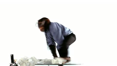 chimp clerk mad jumps - monkey stock videos & royalty-free footage
