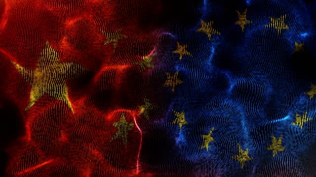 中国と欧州連合の旗 - 欧州連合旗点の映像素材/bロール