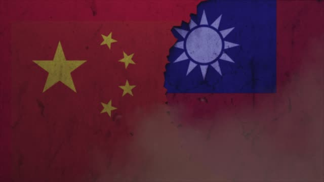 china and taiwan flags on the stone wall stock video - taiwan stock videos & royalty-free footage