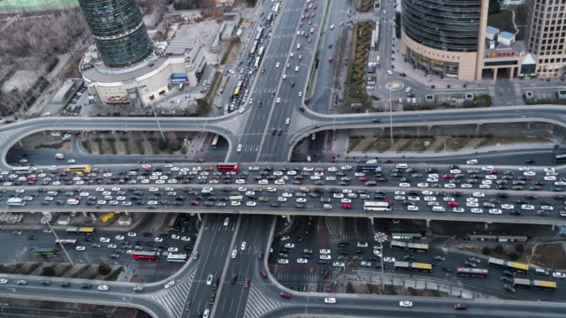 T/L WS HA TD China, Beijing, Aerial View of Busy Intersection