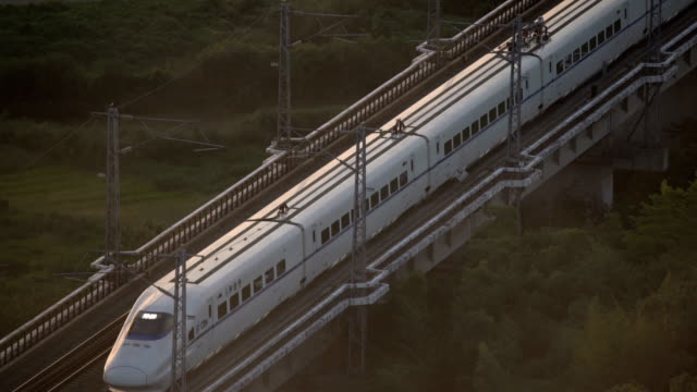 China bullet train on move in Fuzhou city aerial view