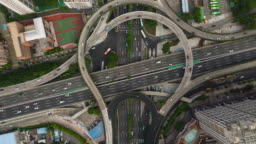 china day time guangzhou cityscape famous traffic road junction aerial top view 4k timelapse