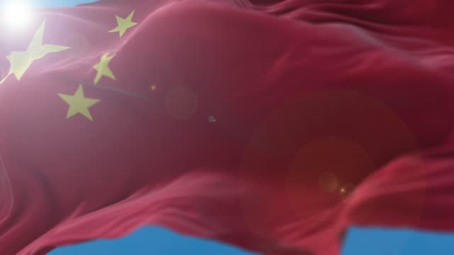china flag flowing in the wind - chinese culture stock videos & royalty-free footage