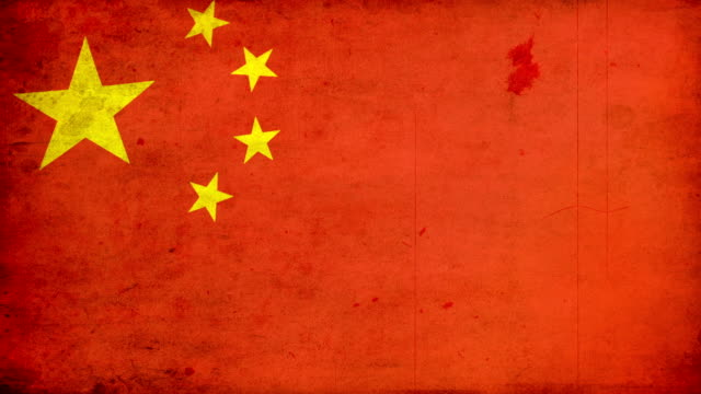 china flag - grunge. hd - chinese flag stock videos & royalty-free footage