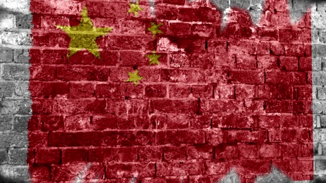 china flag grunge wall. 4k - comunismo video stock e b–roll