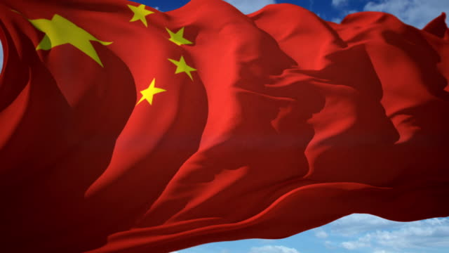 stockvideo's en b-roll-footage met vlag van china - zwaaien, looping - communisme