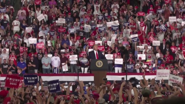 china is not happy about the trade war with the us and the tariffs are working donald trump tells a crowd of more than 10,000 supporters at a... - political rally stock videos & royalty-free footage