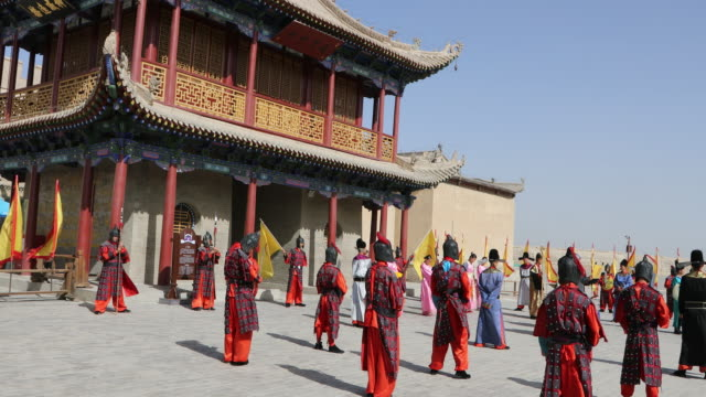 China, Jiayuguan, traditional ceremony in the ancient fortress, on the Chinese historical Silk Road