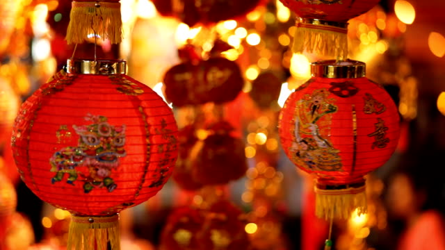china lamps and talismans. - paper lantern stock videos and b-roll footage