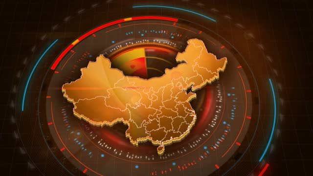 4k china map links with futuristic hud virtual interface background details - china east asia stock videos & royalty-free footage