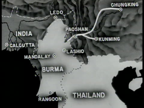 china map showing all of burma road below paoshan was controlled by japanese. dotted line from paoshan to ledo in india - 1944 stock videos & royalty-free footage