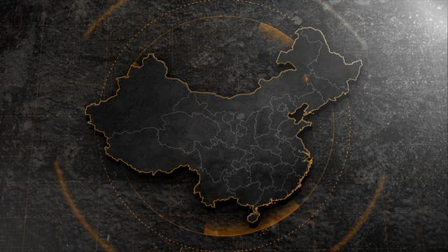 4k china map with background hud details - china east asia stock videos & royalty-free footage