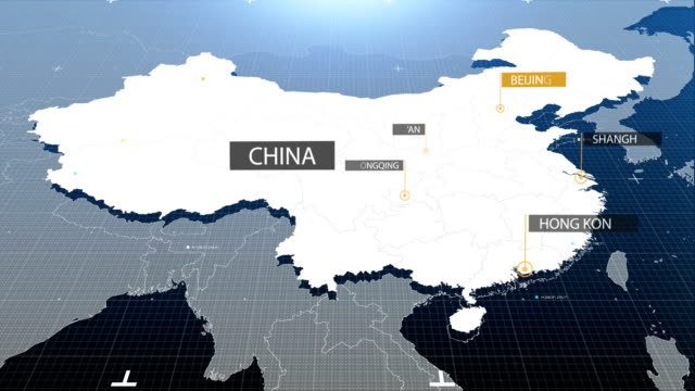 china map with label then with out label - china east asia stock videos & royalty-free footage