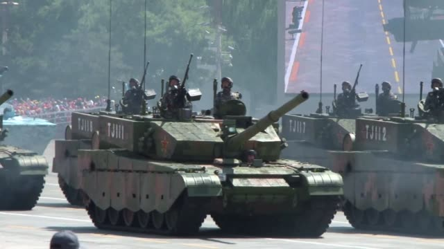 china marks the 70th anniversary of victory over japan with a giant show of strength in tiananmen square - military parade stock videos and b-roll footage