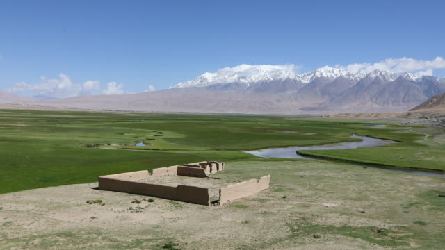 China, Pamir plateau, general view of the Tagharma plateau, 3,050 m, along the historic Silk Road in the Karakoram highway