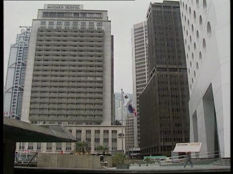 vidéos et rushes de china rejects democracy plans ext cms flags flying gv tall buildings around flags tms people crossing street cms people along in market pull out airv... - 1992