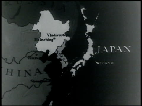 stockvideo's en b-roll-footage met china russia korea japan map showing closeness of vladivostok. soviet airplanes in flight. rooftop tokyo. air defense soldiers on rooftop w/... - 1935