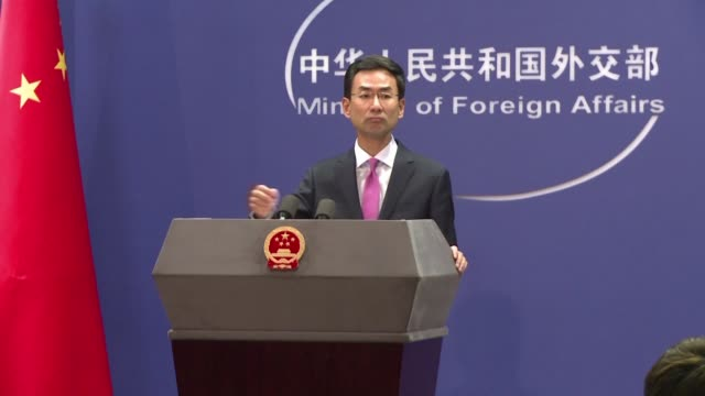 china says unilateral bullying by the united states is the cause behind the escalating iran nuclear crisis after tehran announced it was set to... - uran stock-videos und b-roll-filmmaterial