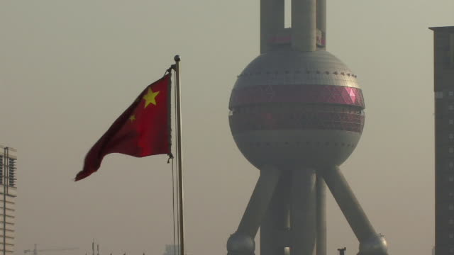 CU, China, Shanghai, Chinese flag at Oriental Pearl Tower