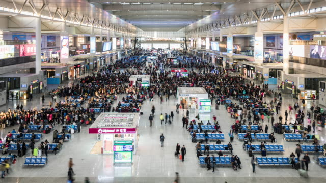 china, shanghai, hongqiao railway station busy with people - civilian stock videos & royalty-free footage